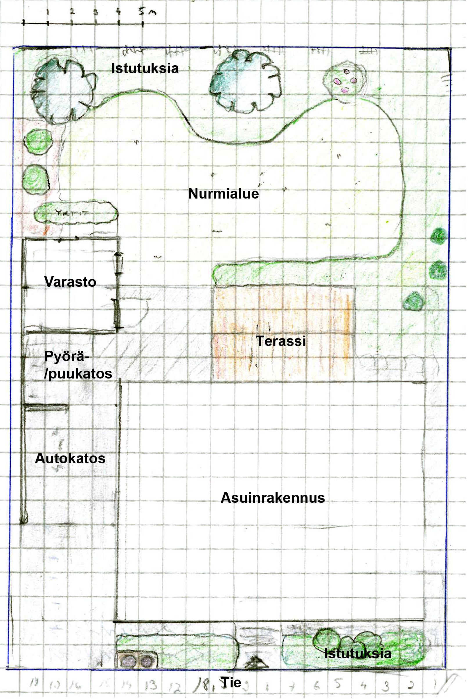 Tässä hahmotelmani kuinka talo ja piharakennukset voisivat sijoittua.