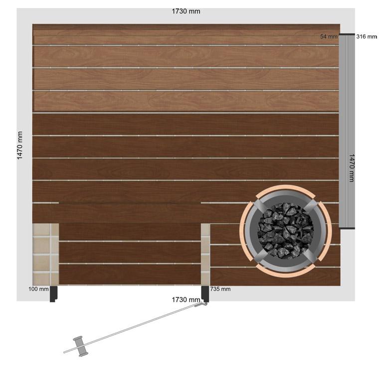 Lämpökäsiteltyä haapaa on toiveideni mukaan sekä seinissä, katossa että lauteissa. Saunan valaistus on hoidettu sekä ylälauteen alapuolelle että selkänojan taakse asennettavalla led-nauhalla.