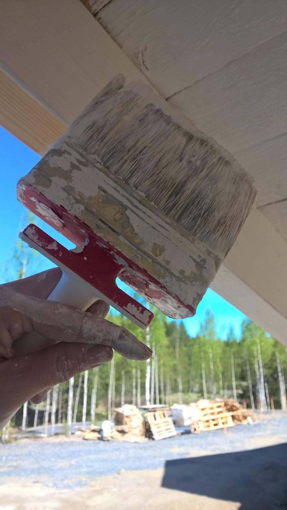 Räystään aluslaudat maalataan valkoisella. Sokevan Ergo-pensselissä on kääntyvä varsi - se on varsin näppärä!